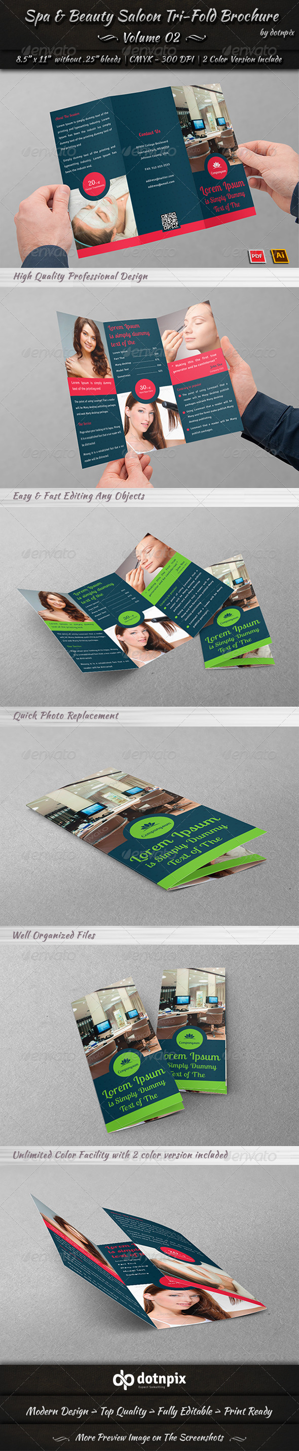 GraphicRiver Spa & Beauty Saloon Tri-Fold Brochure Volume 2 8008907