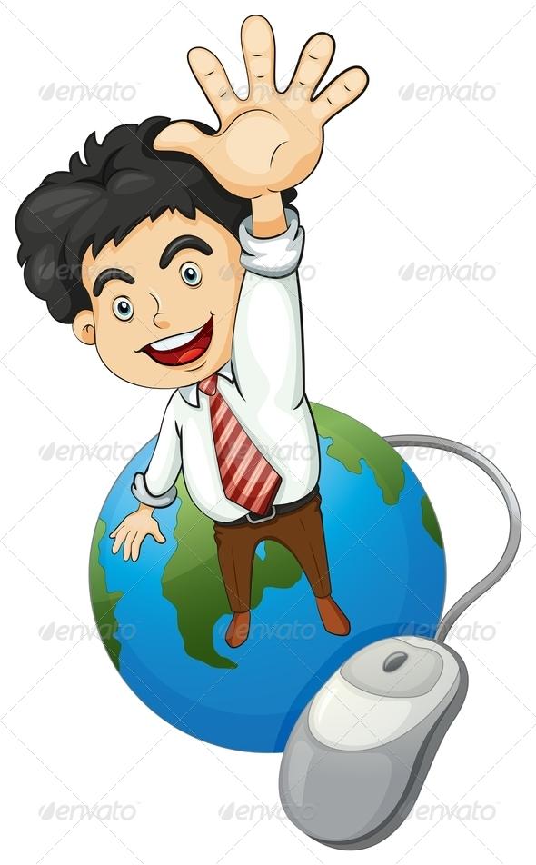 GraphicRiver Happy Businessman Standing Above a Globe 8009248