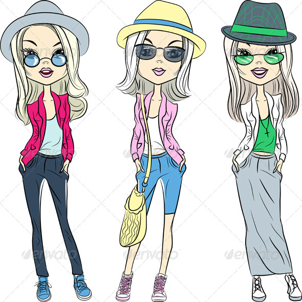 GraphicRiver Fashion Hipster Girls in Hats and Glasses 8009525