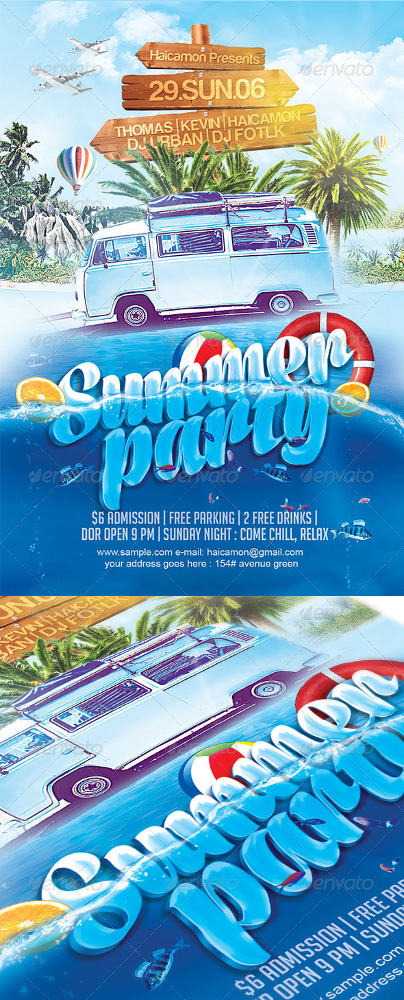 GraphicRiver Summer Party Flyer 8009709