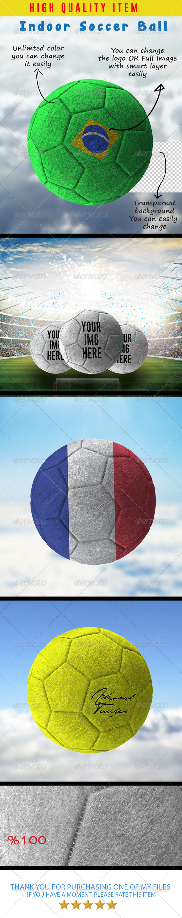 GraphicRiver Indoor Soccer Ball Mock-Ups 8009768