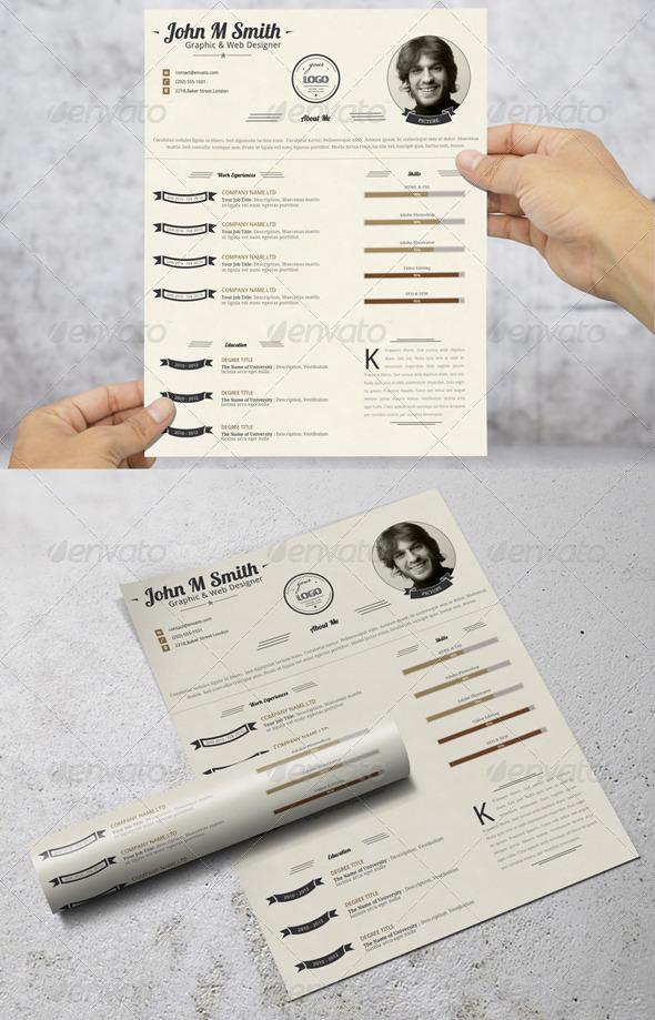 GraphicRiver Retro Style Simple Resume CV 8010074