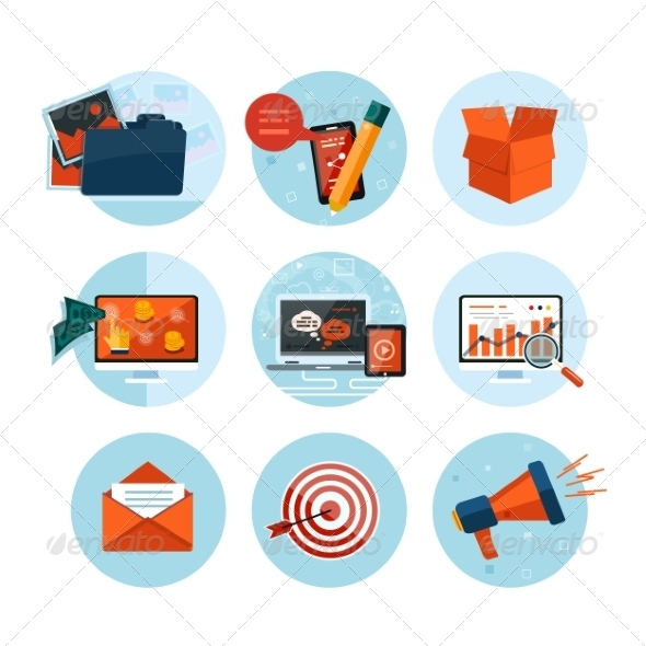 GraphicRiver Business Office and Marketing Items Icons 8010077