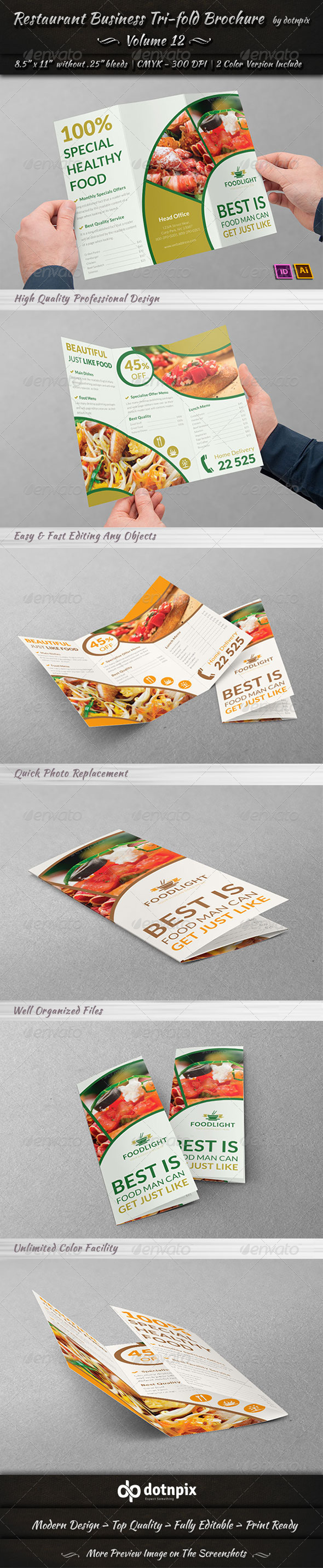 GraphicRiver Restaurant Business Tri-Fold Brochure Volume 12 8010176