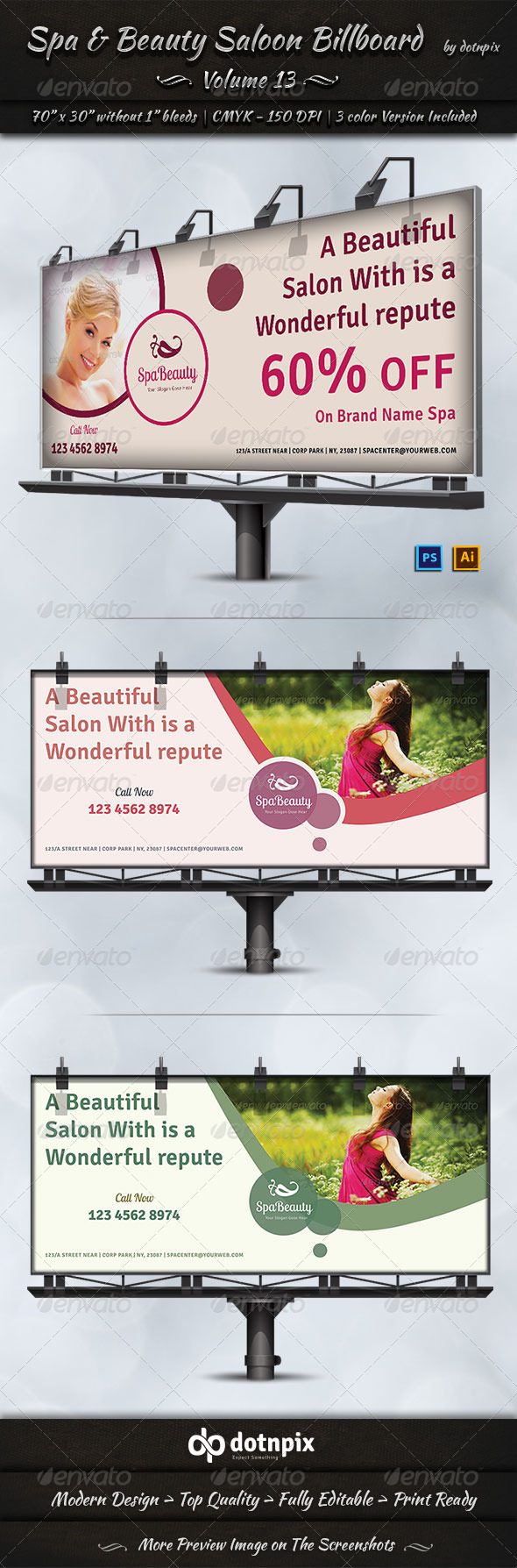 GraphicRiver Spa & Beauty Saloon Billboard Template Volume 13 7989600