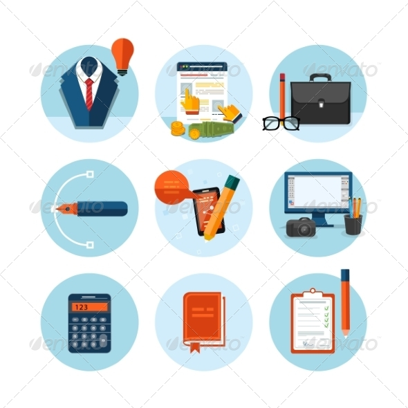 GraphicRiver Business Office and Marketing Items Icons 8010311