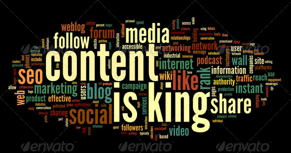 Content is king conept in word tag cloud - Stock Photo - Images