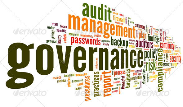 Governance and compliance in word tag cloud - Stock Photo - Images