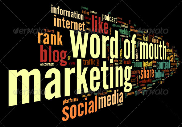 Word of mouth in word tag cloud - Stock Photo - Images