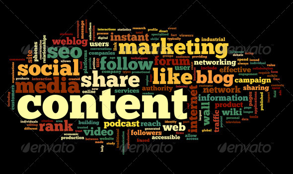 Content conept in word tag cloud - Stock Photo - Images