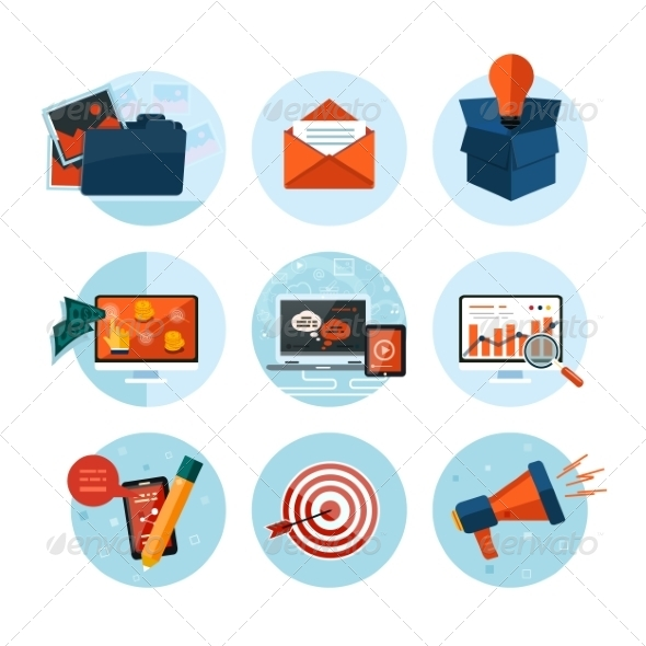 GraphicRiver Business Office and Marketing Items Icons 8010392