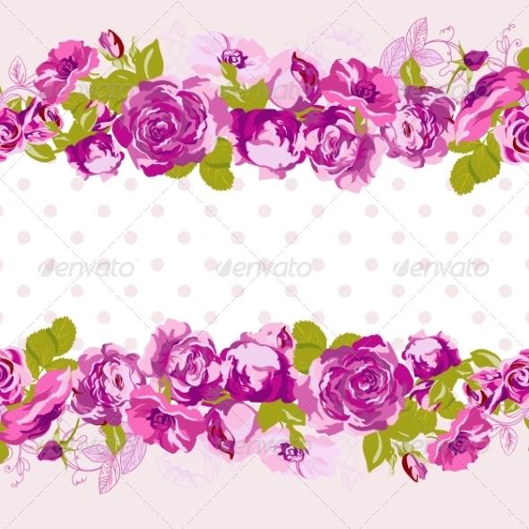 GraphicRiver Seamless Border of Blossom Roses 8011057