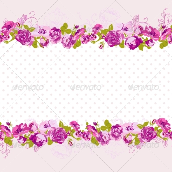 GraphicRiver Seamless Border of Blossom Roses 8011087