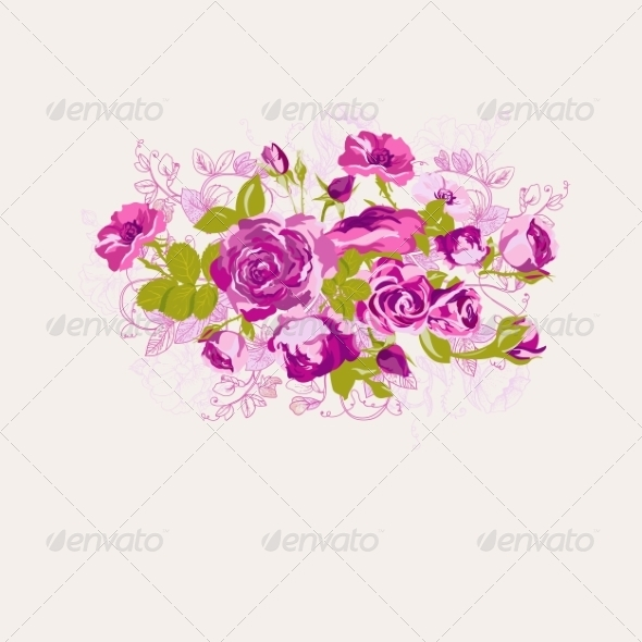 GraphicRiver Vintage Floral Card with Roses 8011104