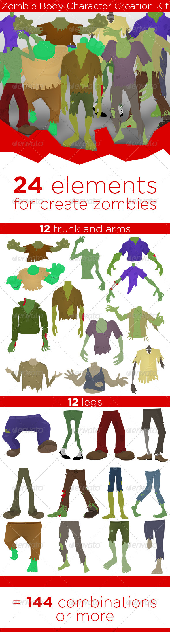 GraphicRiver Zombie Body Character Creation Kit 8011733