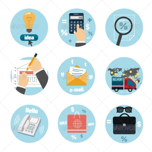 Business Office and Marketing Items Icons