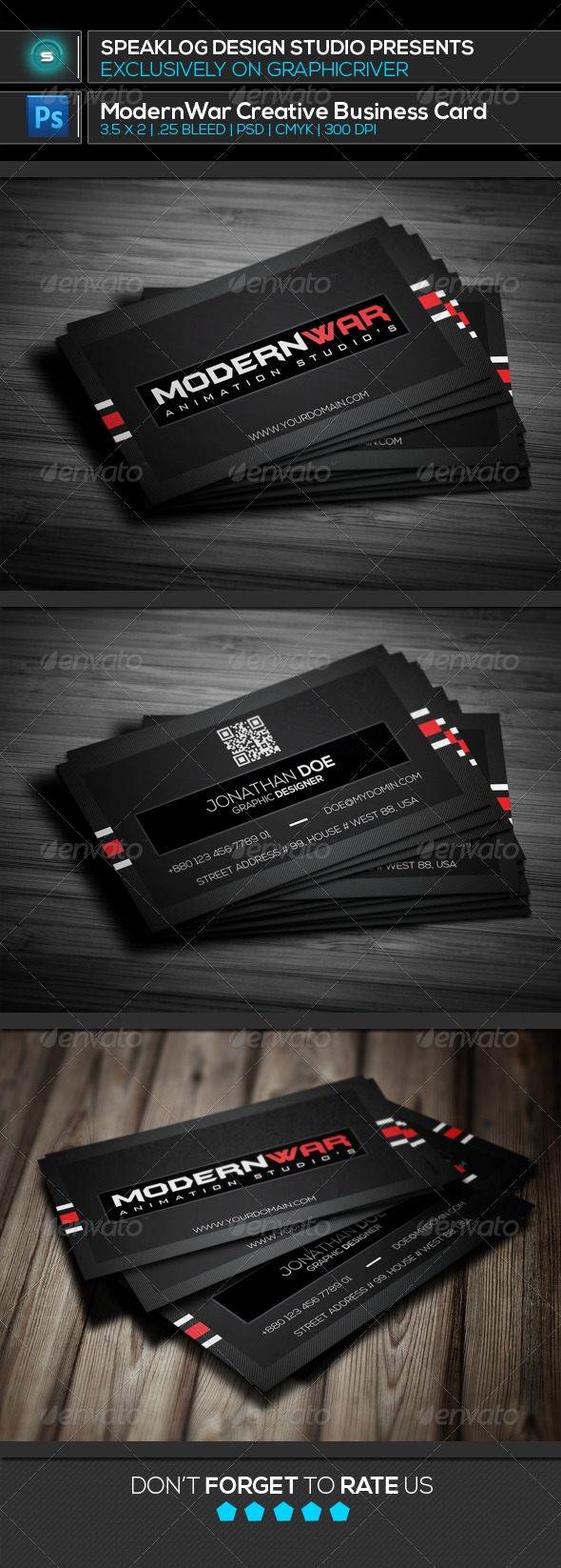 GraphicRiver Modernwar Creative Business Card 8012668