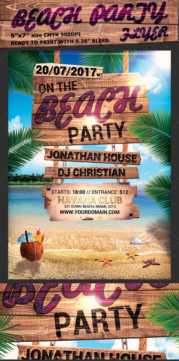 GraphicRiver Summer Beach Party Flyer Template 8012759