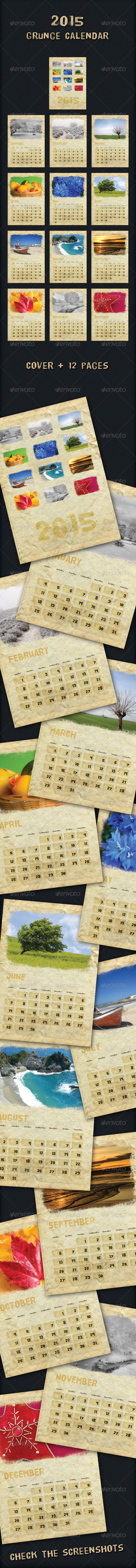 2015 Grunge Calendar - Calendars Stationery