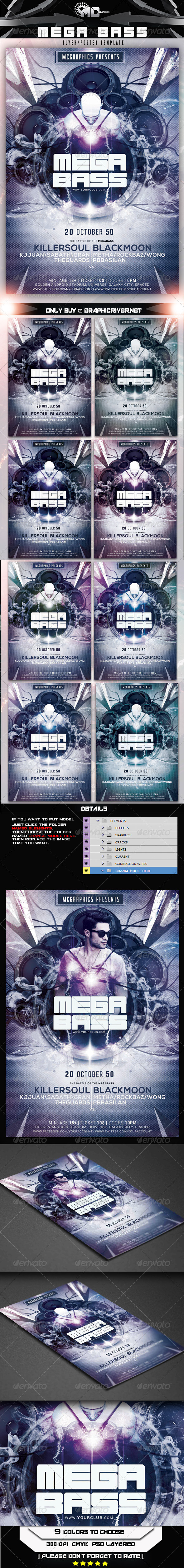 GraphicRiver Mega Bass Flyer Poster Template 7910865