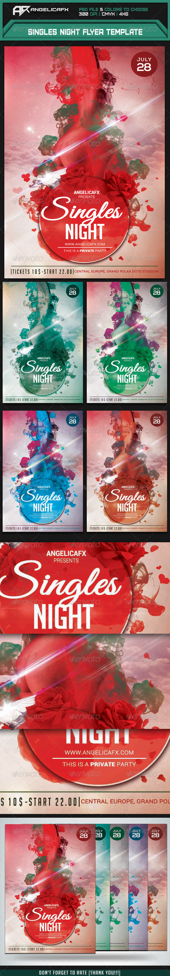 GraphicRiver Singles Night Flyer Template 8012833