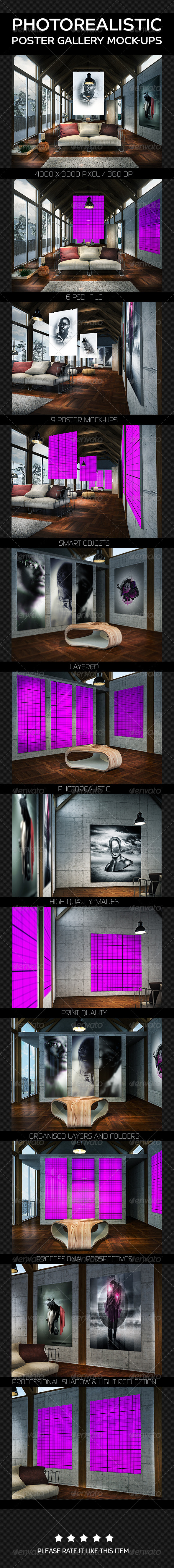 GraphicRiver Photorealistic Poster Gallery Mock-Ups 8012885