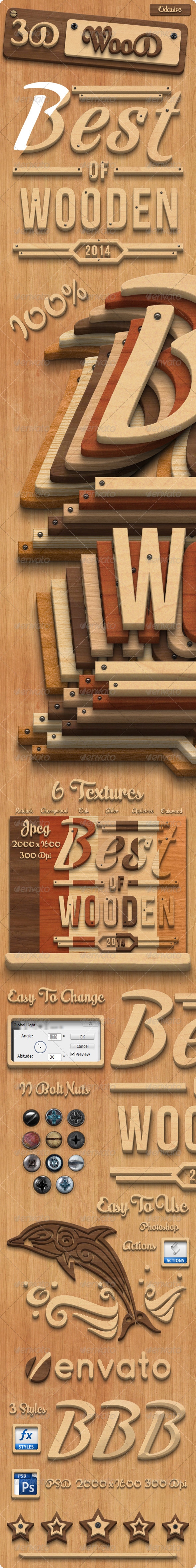 GraphicRiver 3D Wood Creation Photoshop Actions 8012911