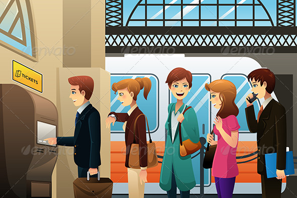 GraphicRiver People Buying Train Ticket 8012912