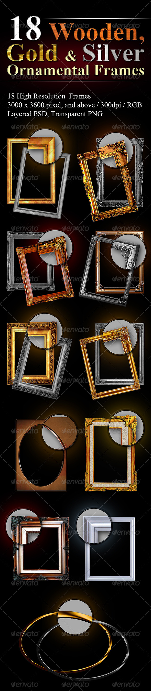 GraphicRiver 18 Hi-Res Ornamental Frames 8012916