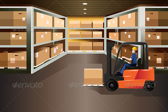 GraphicRiver Worker Driving a Forklift 8012918