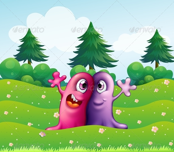 GraphicRiver Two One-Eyed Monsters near Pine Trees 8012927