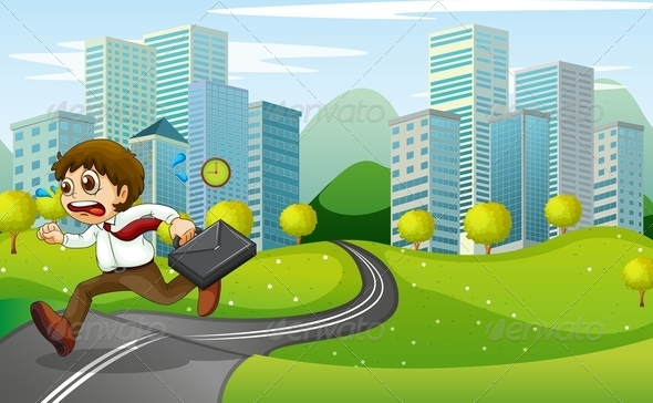 GraphicRiver Nervous Man Running with Suitcase 8012947