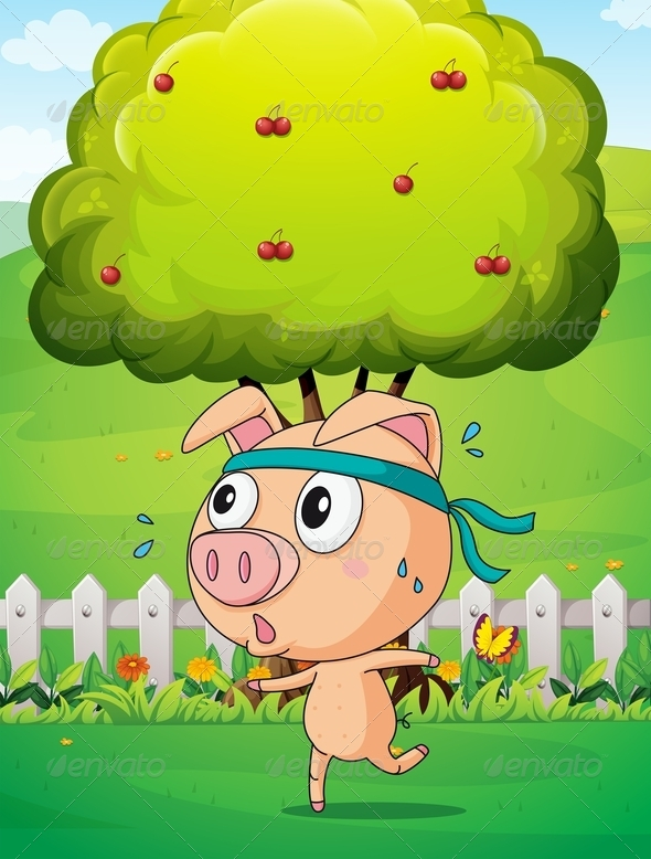 GraphicRiver Pig Exercising Near Tree 8012949