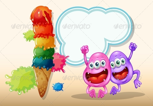 GraphicRiver Two Happy Monsters with Giant Icecream 8012961