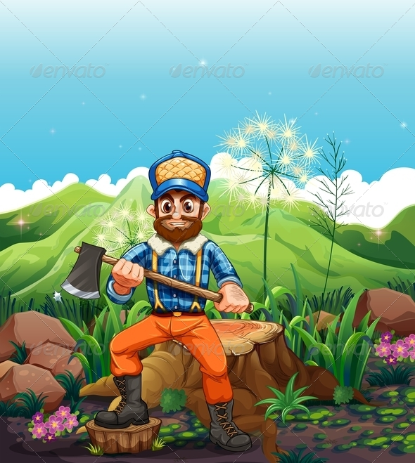 GraphicRiver Lumberjack Cutting Trees near Mountains 8012973