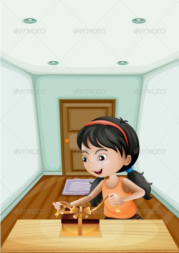 GraphicRiver Girl Unwrapping Gift 8012984