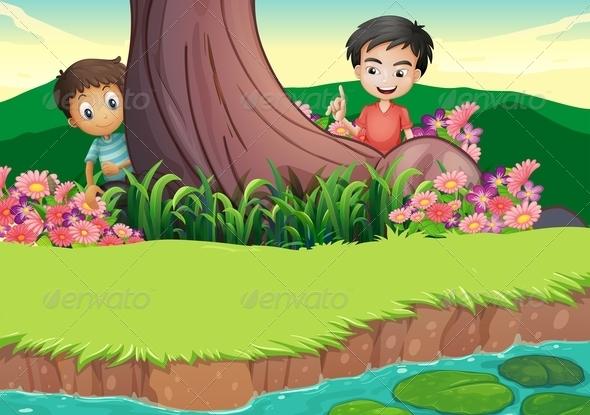 GraphicRiver Boys Hiding Behind Tree 8012991