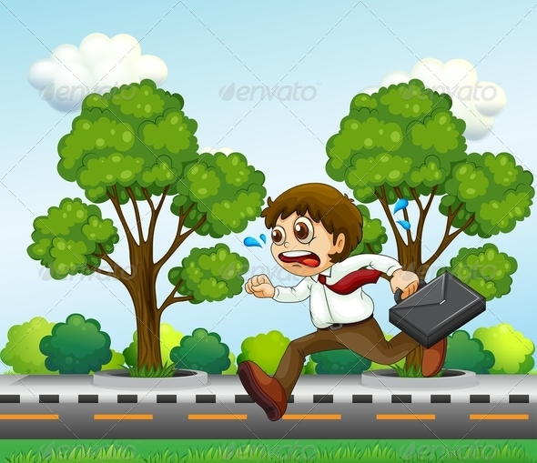 GraphicRiver Man Running with Suitcase 8012994