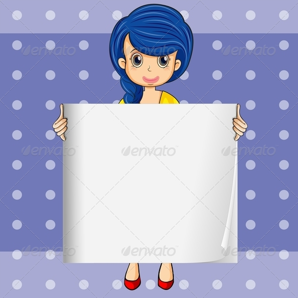 GraphicRiver Lady Holding an Empty Sign 8013006