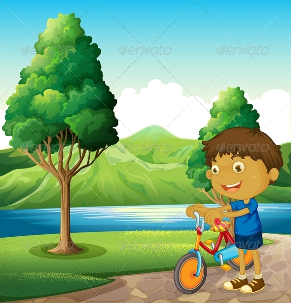 GraphicRiver Kid at Riverbank with Bicycle 8013008