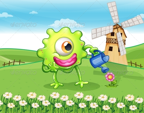 GraphicRiver One-Eyed Monster Watering Plant 8013012