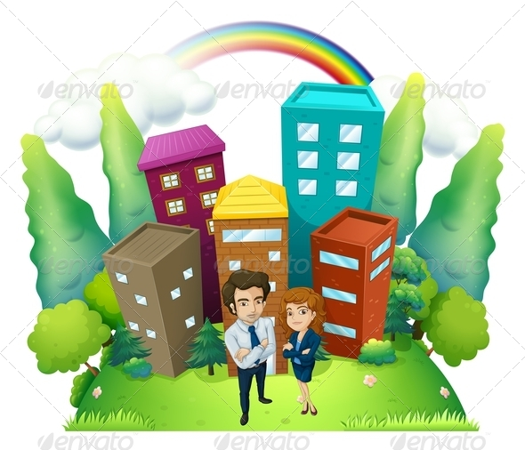 Couple Standing in Front of Buildings