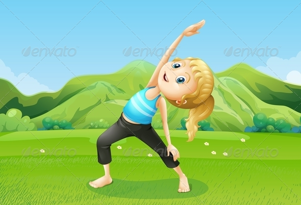 GraphicRiver Girl Streching in the Field 8013040