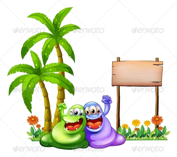 GraphicRiver Two Monsters with Empty Wooden Sign 8013046