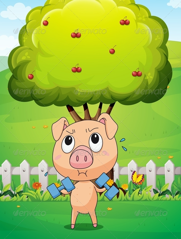 GraphicRiver Pig Exercising Under Cherry Tree 8013075
