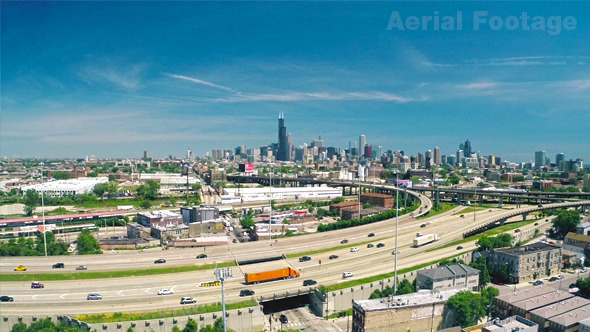 Busy Chicago Aerial Footage