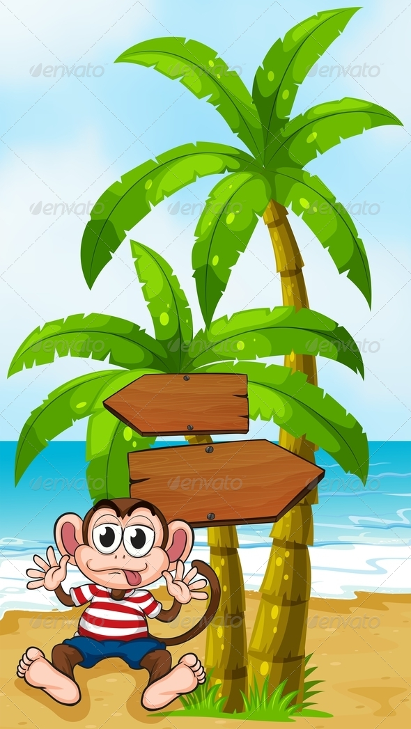 GraphicRiver Boastful Monkey at the Beach 8013079