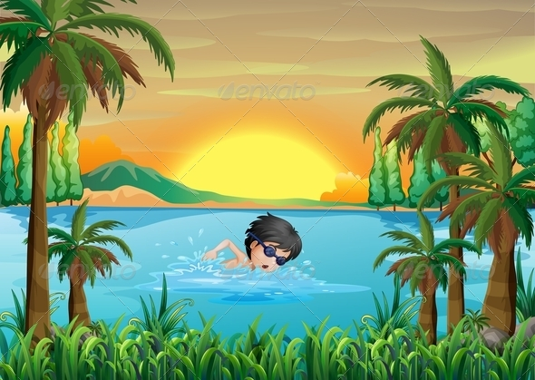 GraphicRiver Boy Swimming in the Lake 8013093