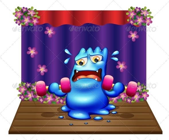 GraphicRiver Monster Exercising on Stage 8013100