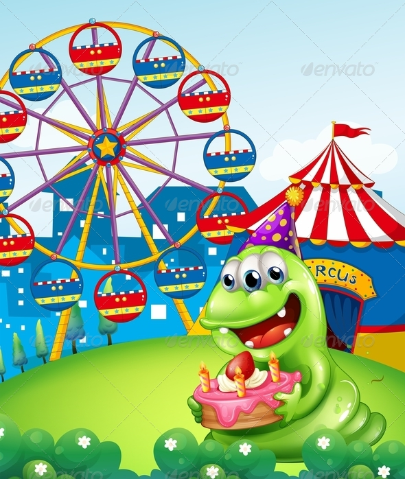 GraphicRiver Monster Celebrating Birthday at Carnival 8013101